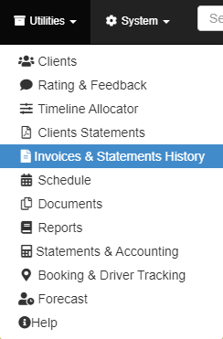 invoices history option